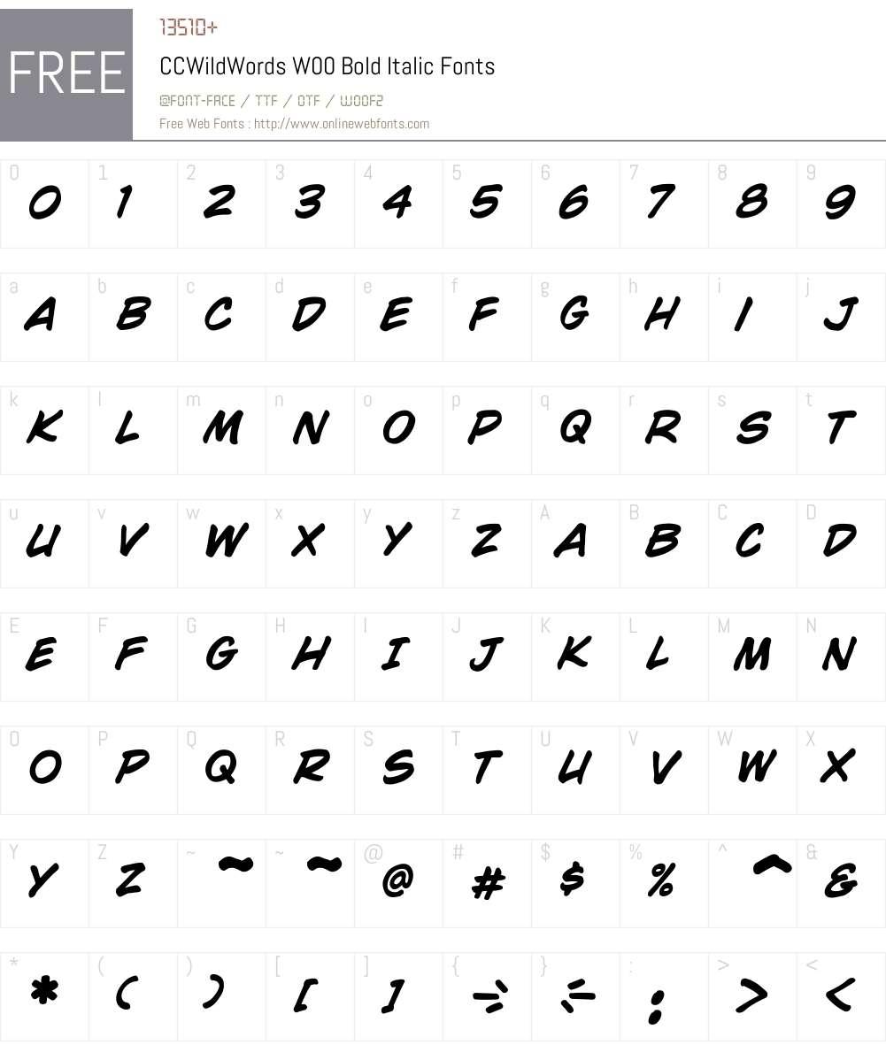 CCWildWordsW00-BoldItalic Font Screenshots