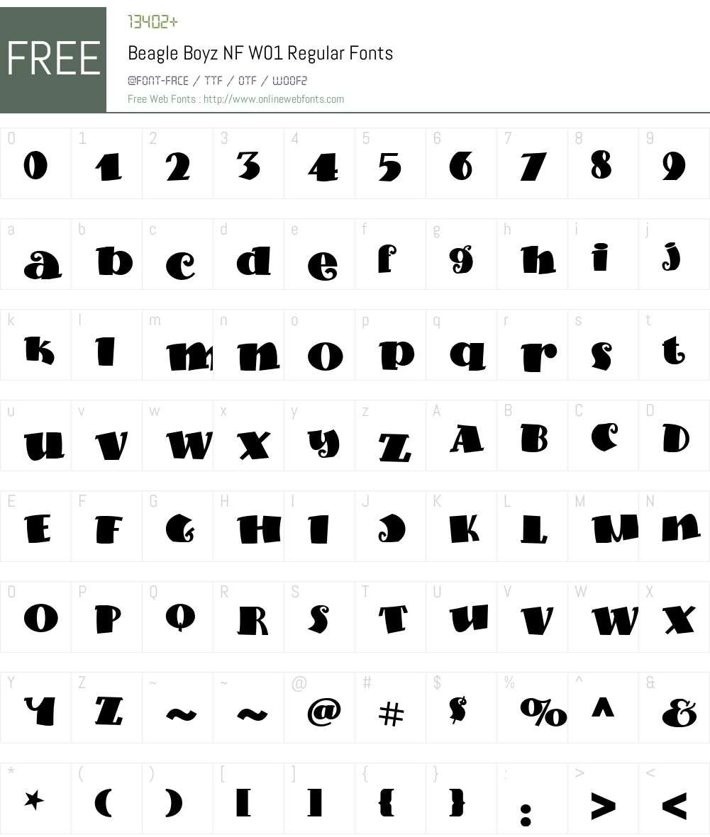 BeagleBoyzNFW01-Regular Font Screenshots