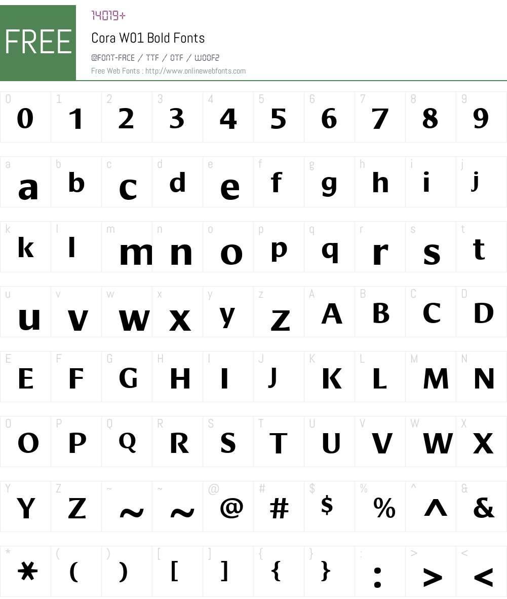 CoraW01-Bold Font Screenshots