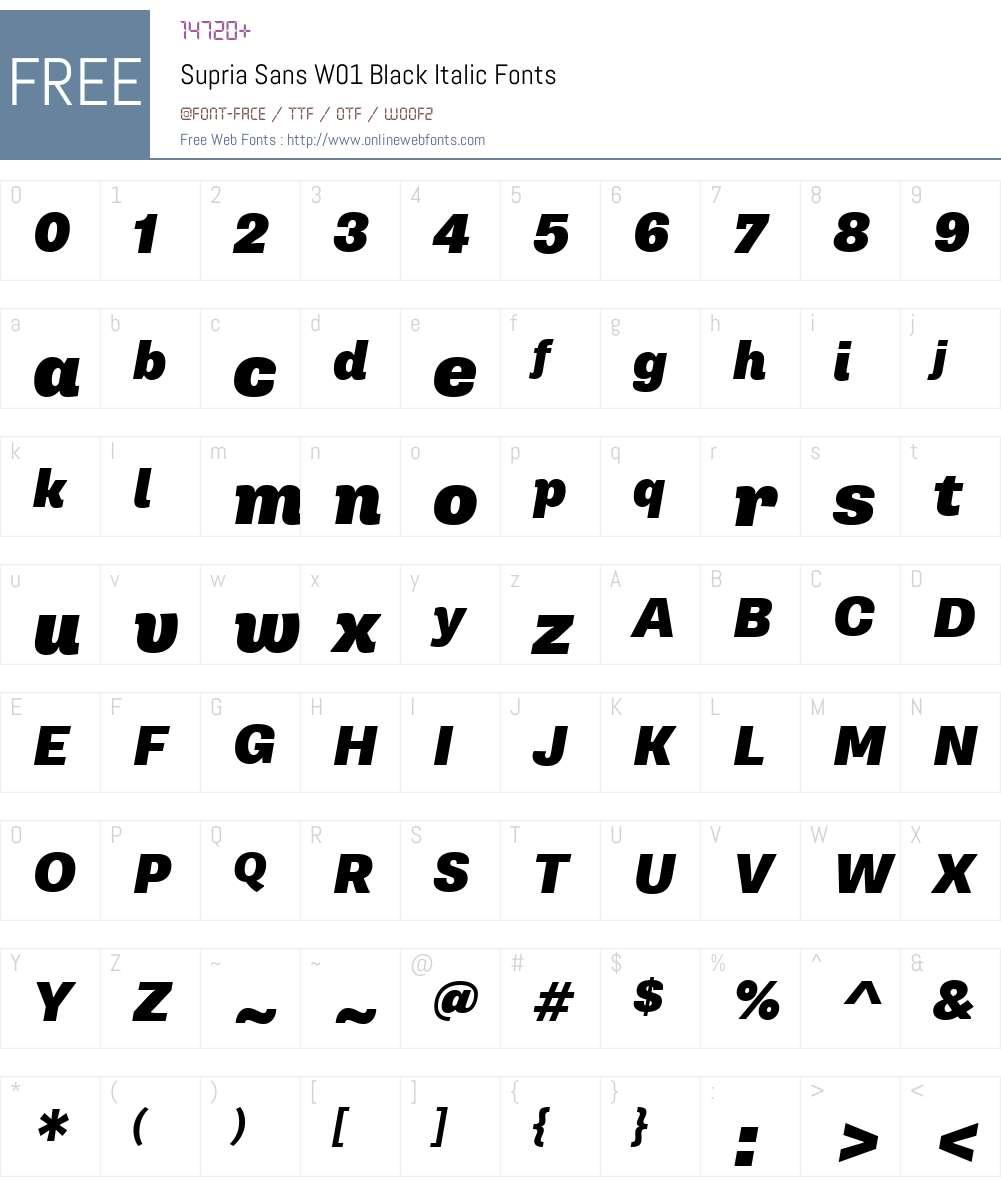 SupriaSansW01-BlackItalic Font Screenshots