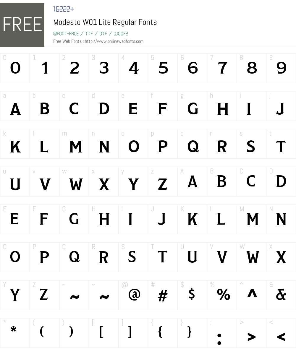 ModestoW01-LiteRegular Font Screenshots