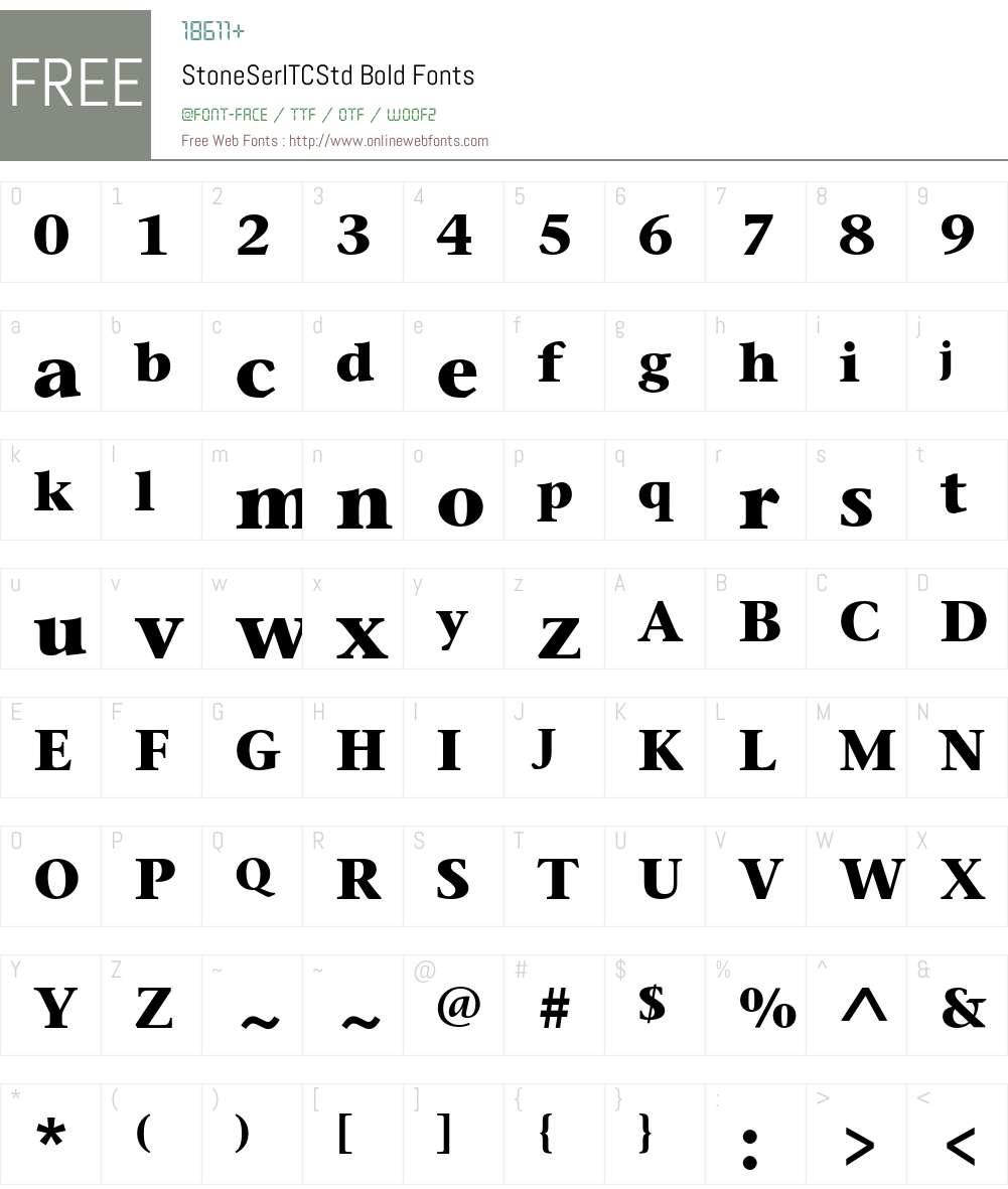 StoneSerITCStd Font Screenshots