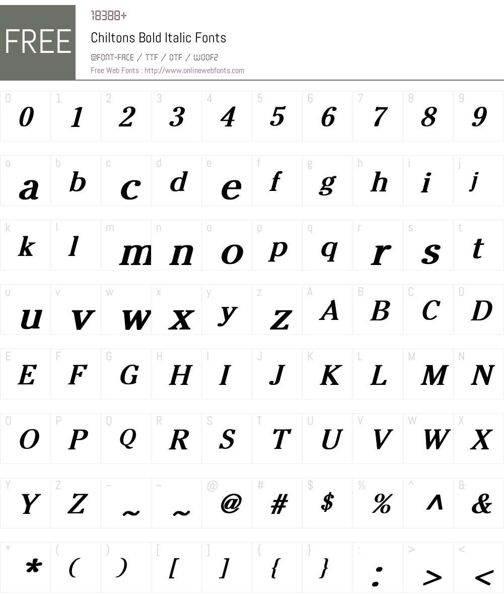 Chiltons Bold Italic Font Screenshots
