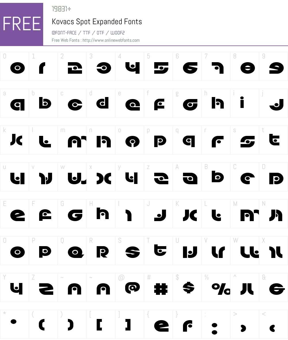 Kovacs Spot Expanded Font Screenshots