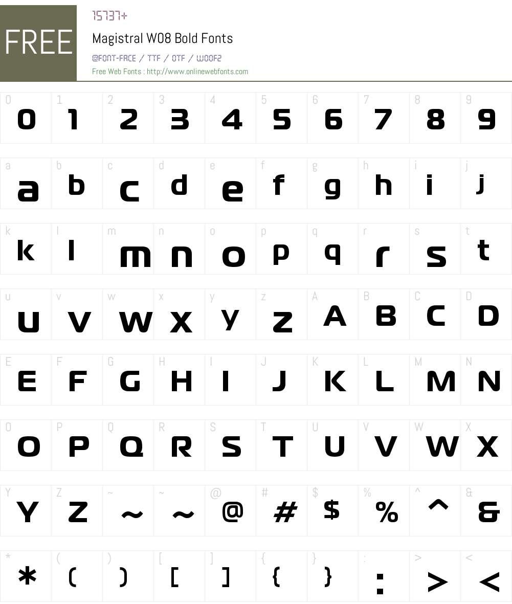 MagistralW08-Bold Font Screenshots