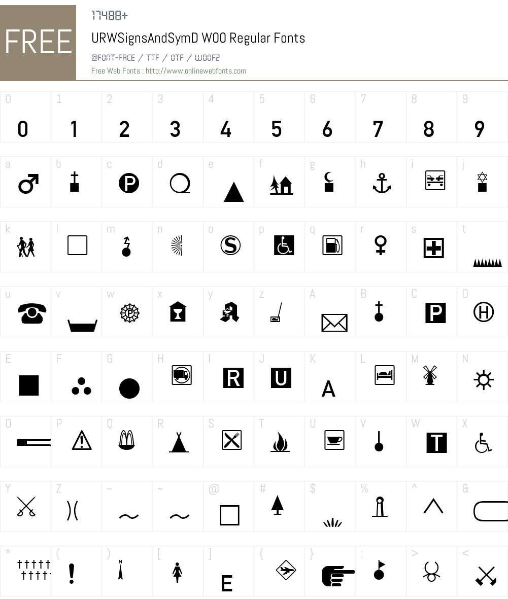 Signs and Symbols Font Screenshots