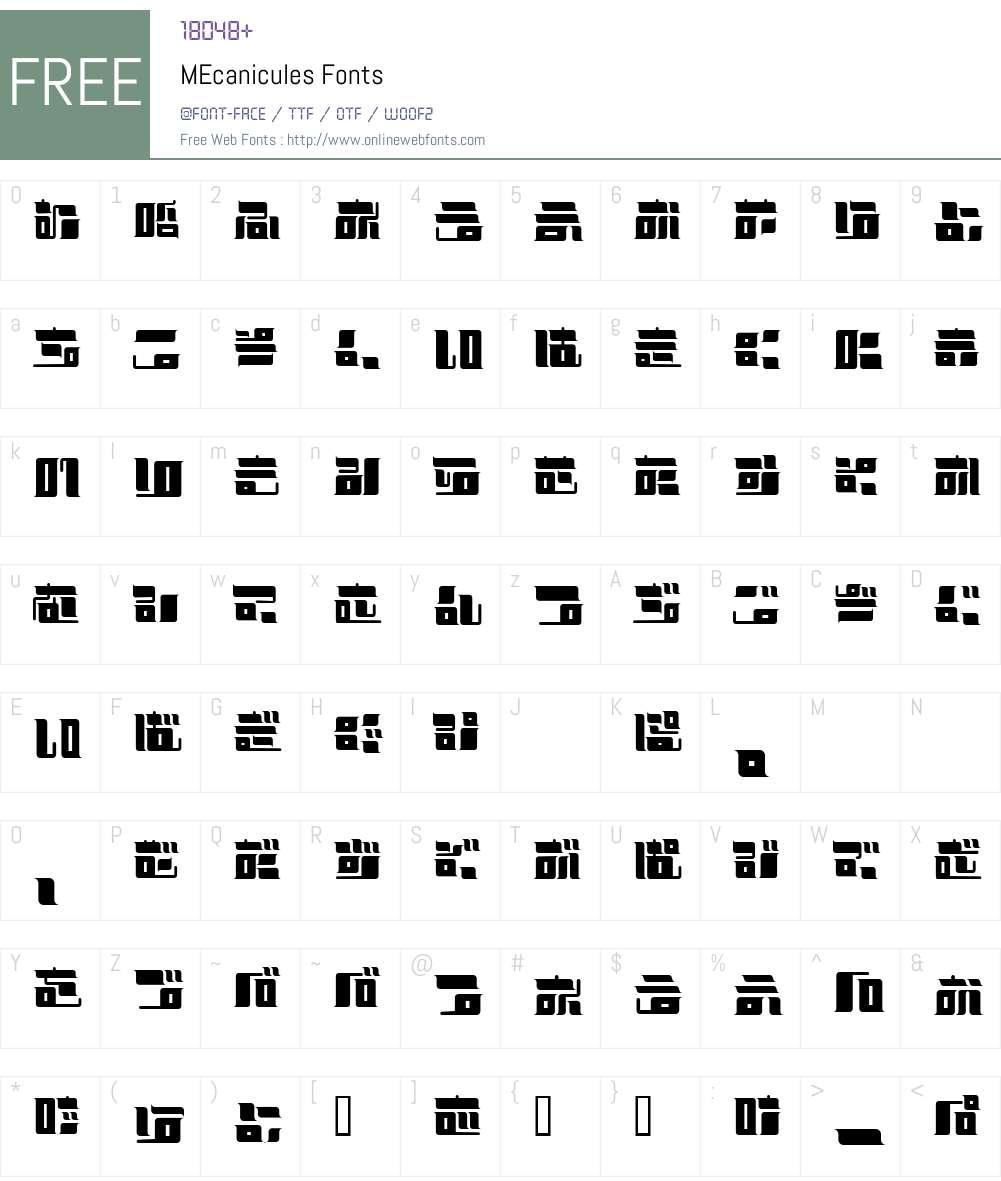 MEcanicules Font Screenshots