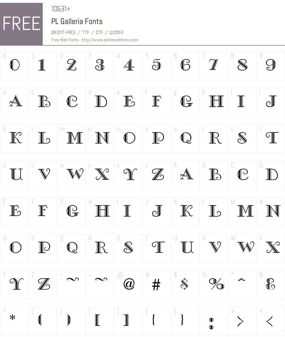 PL Galleria Font Screenshots