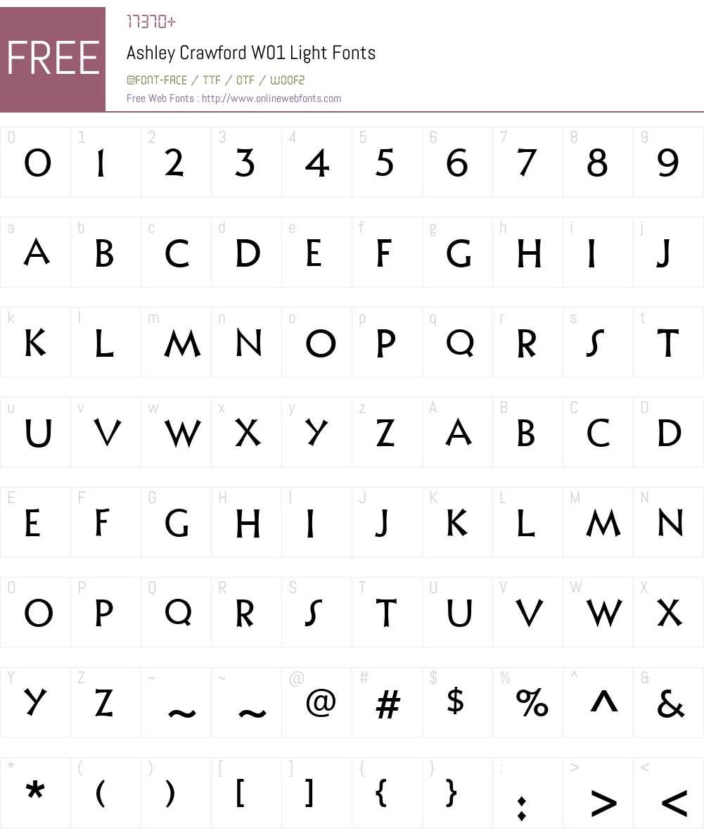 AshleyCrawfordW01-Light Font Screenshots