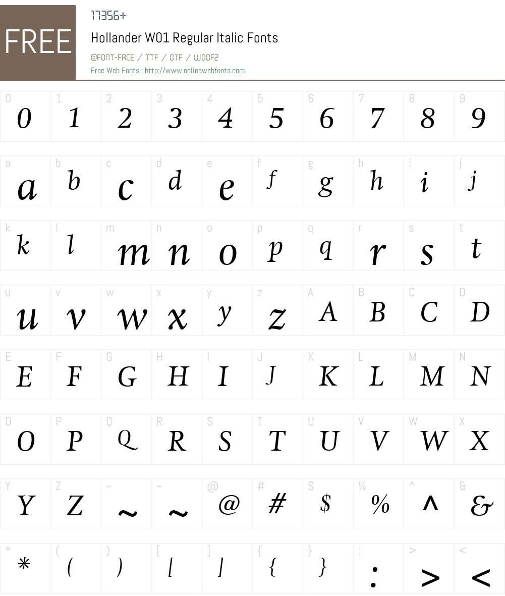 HollanderW01-RegularItalic Font Screenshots