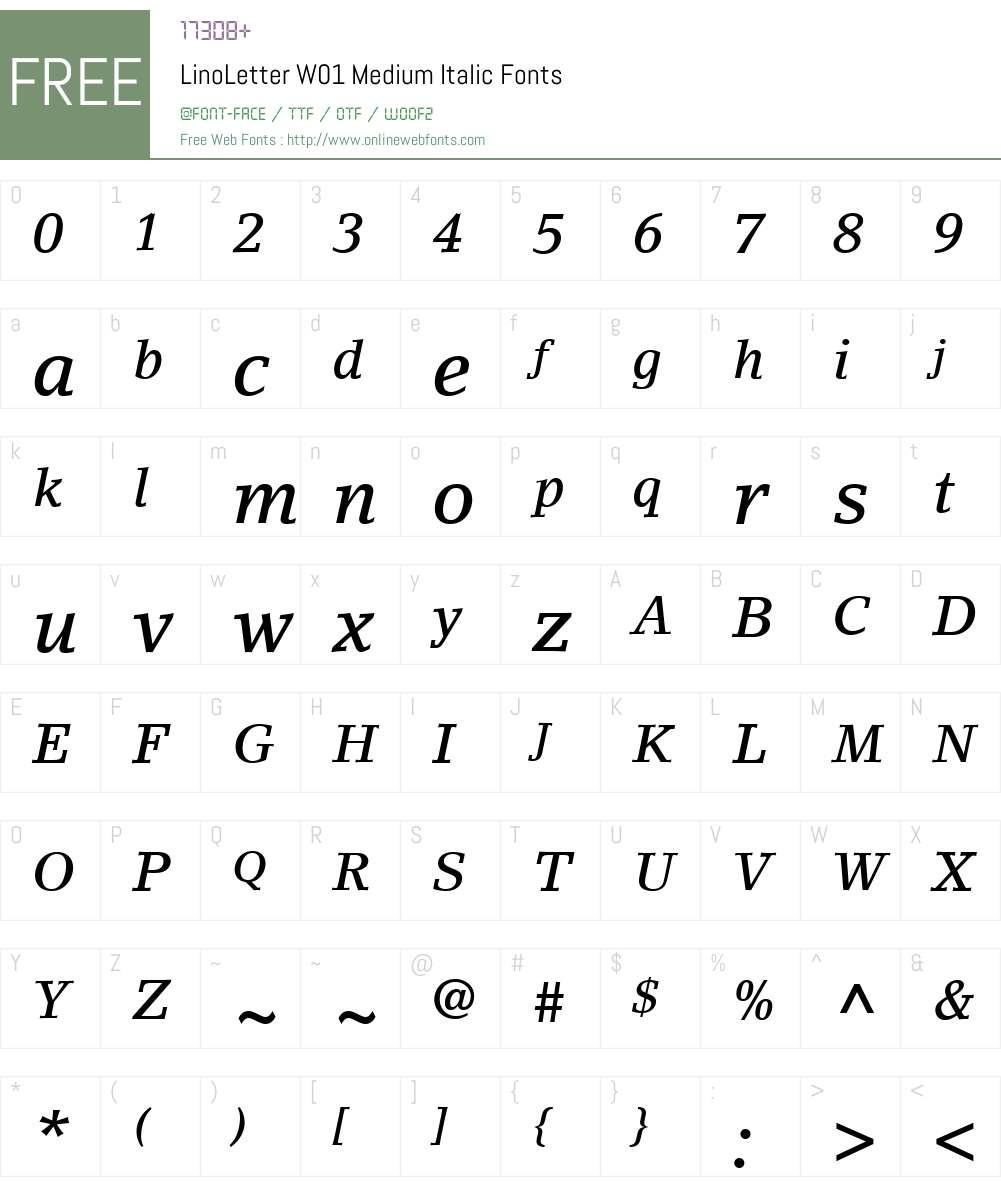 LinoLetterW01-MediumItalic Font Screenshots
