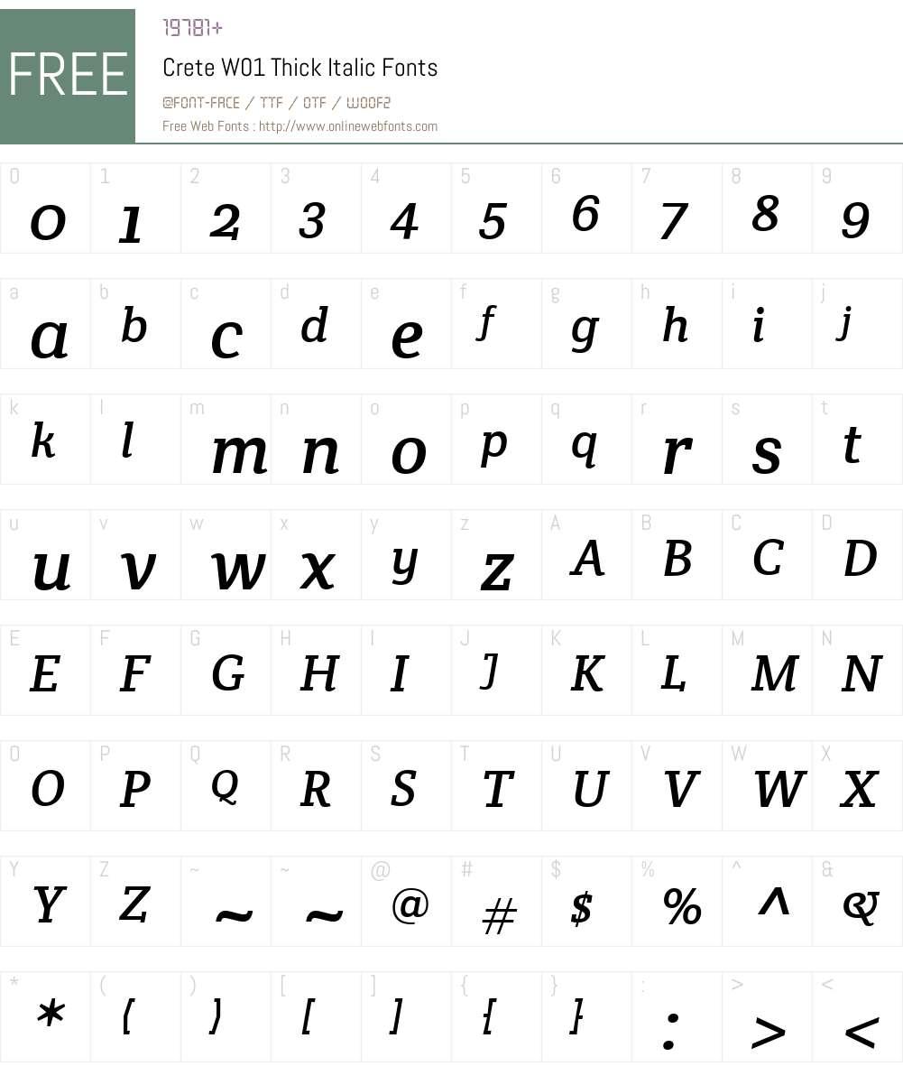 CreteW01-ThickItalic Font Screenshots