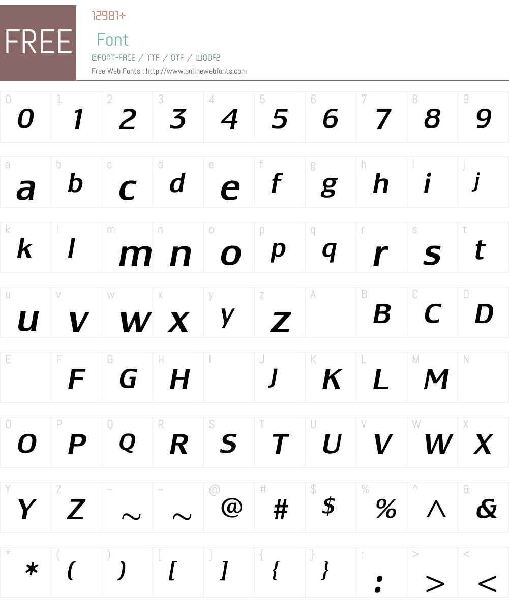 LesmoreMediumItalic Font Screenshots
