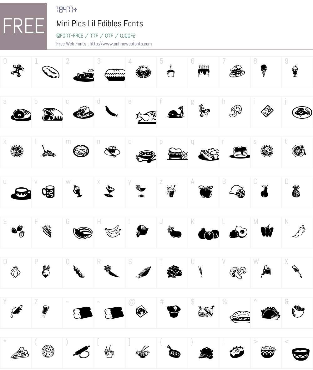 Mini Pics Lil Edibles Font Screenshots