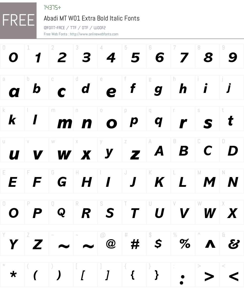 AbadiMTW01-ExtraBoldItalic Font Screenshots