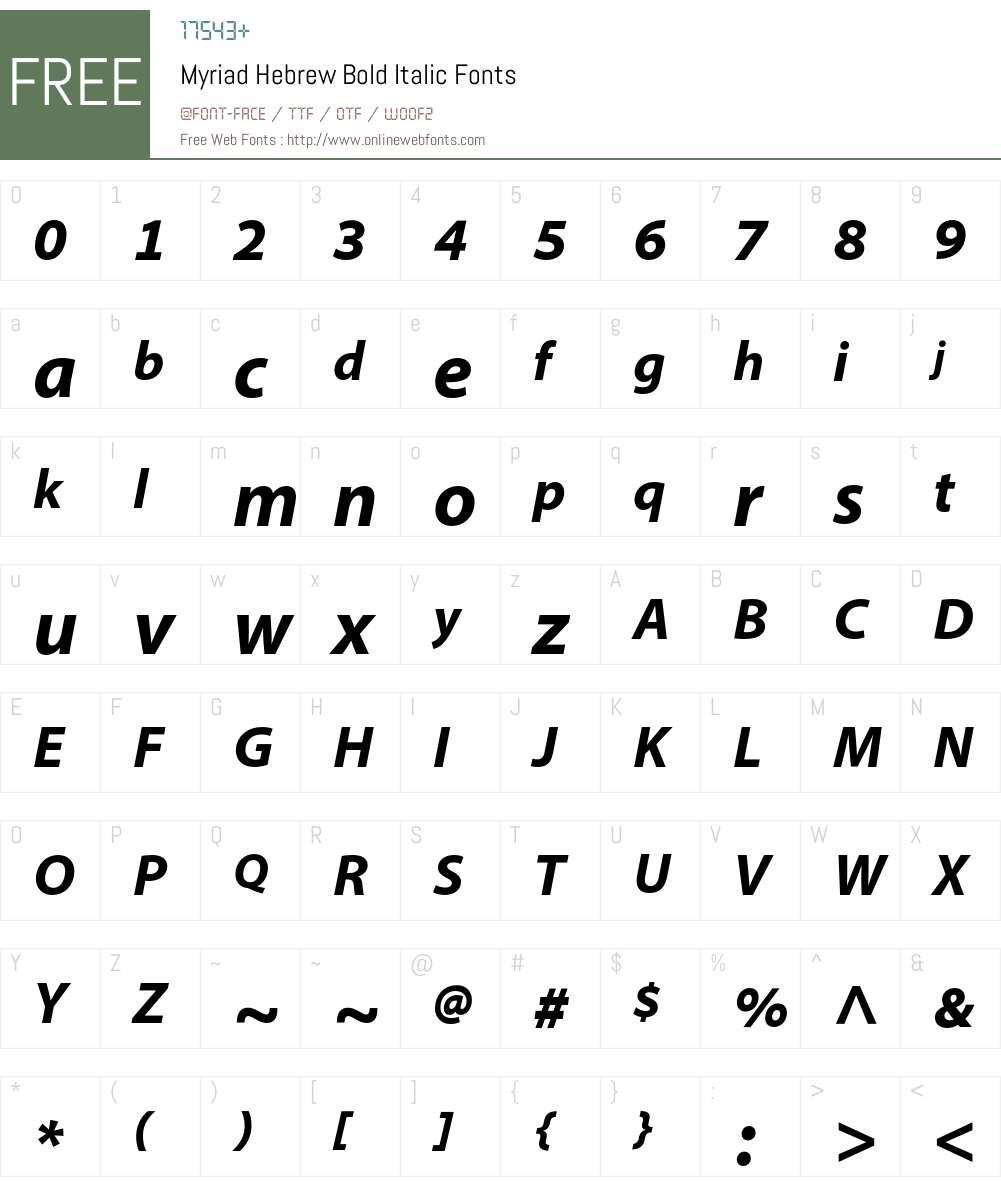 Myriad Hebrew Font Screenshots