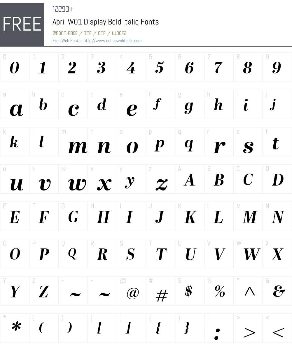AbrilW01-DisplayBoldItalic Font Screenshots