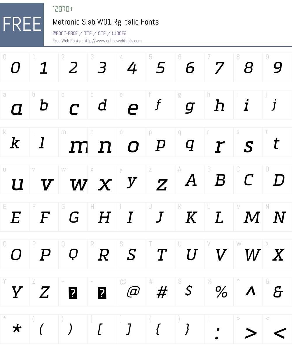 MetronicSlabW01-Rgitalic Font Screenshots