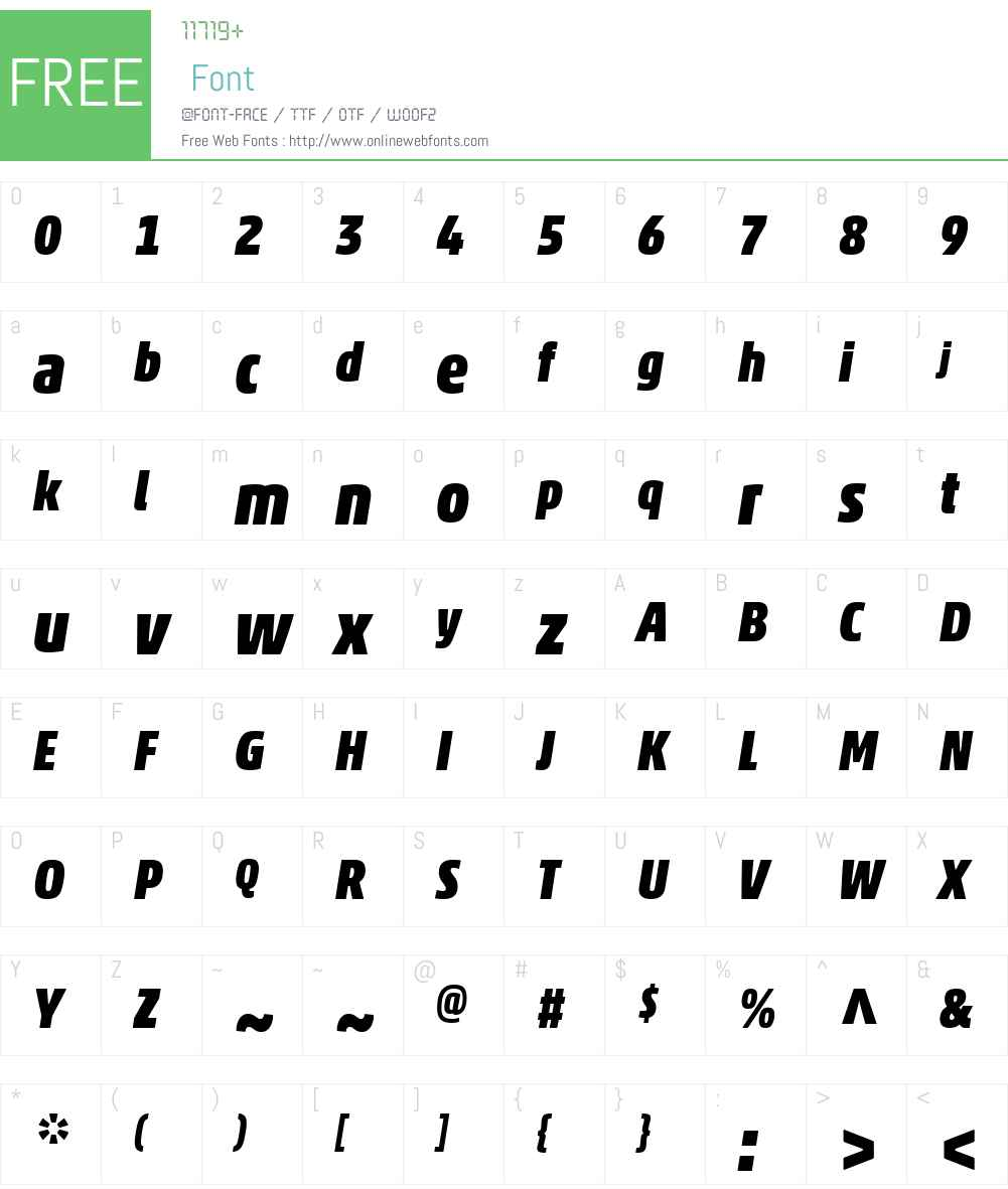 AkkoW01-BlackCondensedIt Font Screenshots