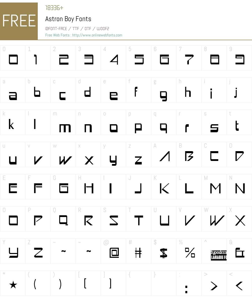 Astron Boy Font Screenshots