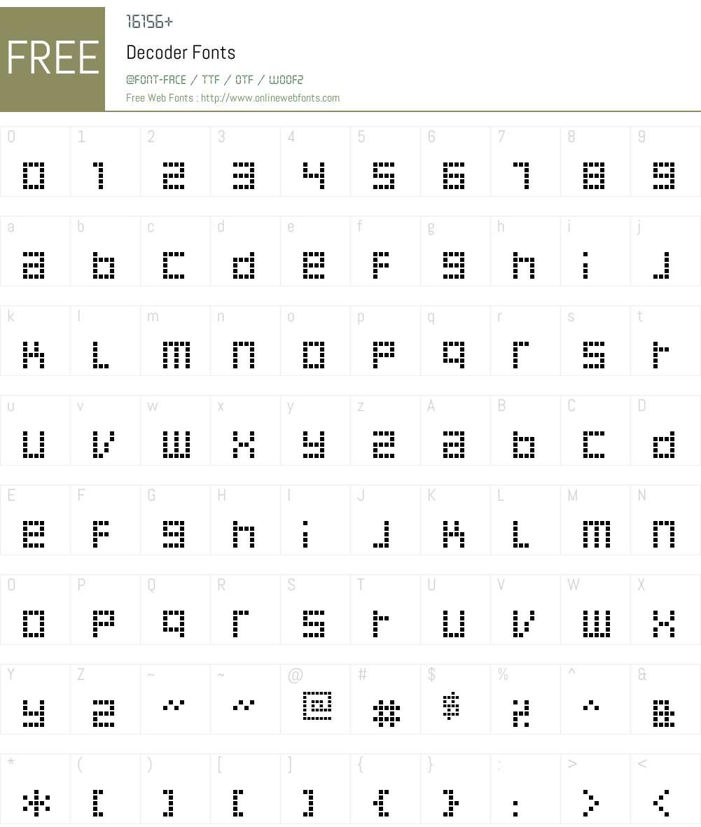 Decoder Font Screenshots