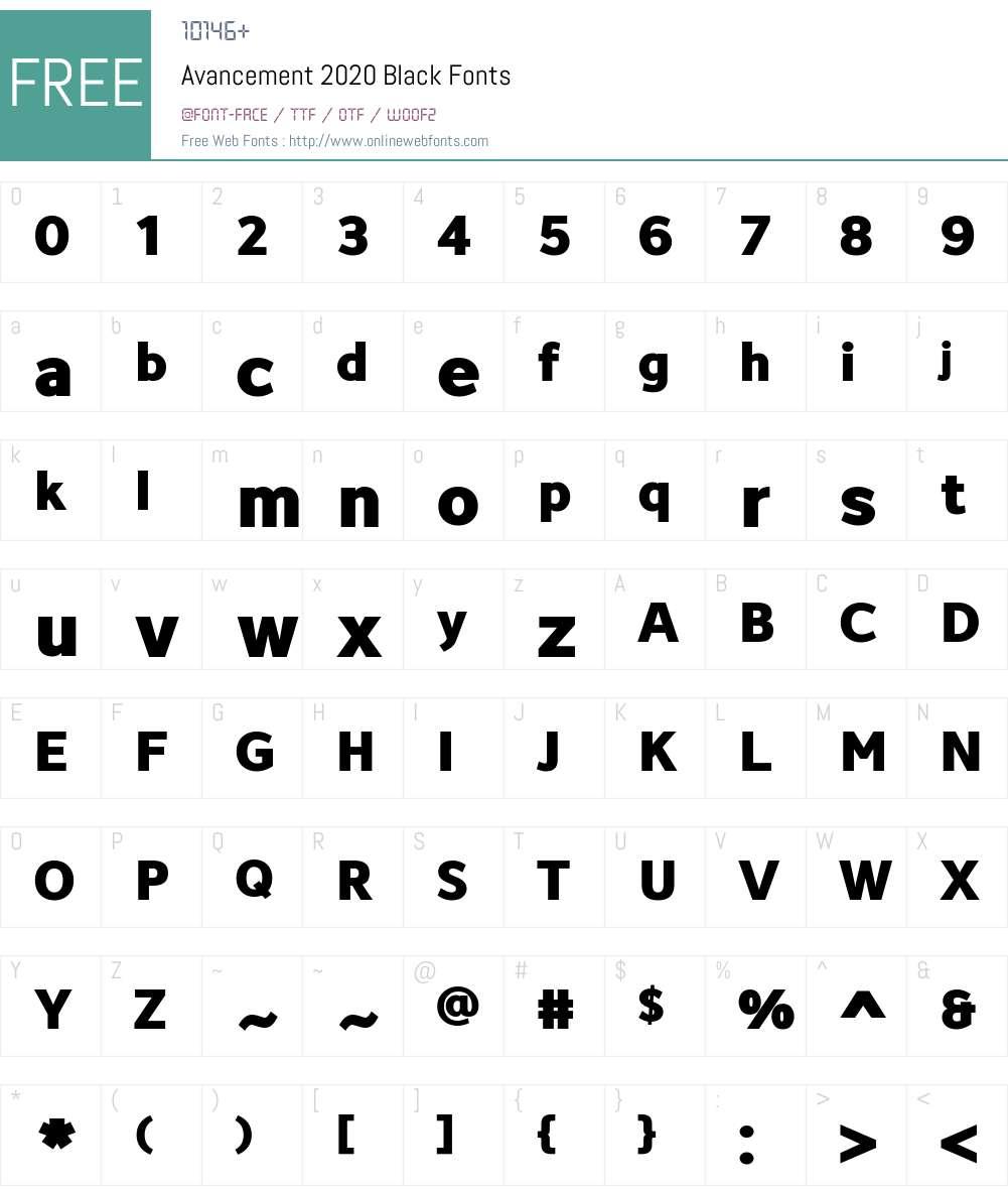 Avancement 2020 Font Screenshots