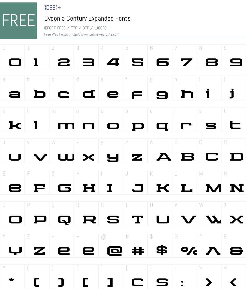 Cydonia Century Expanded Font Screenshots