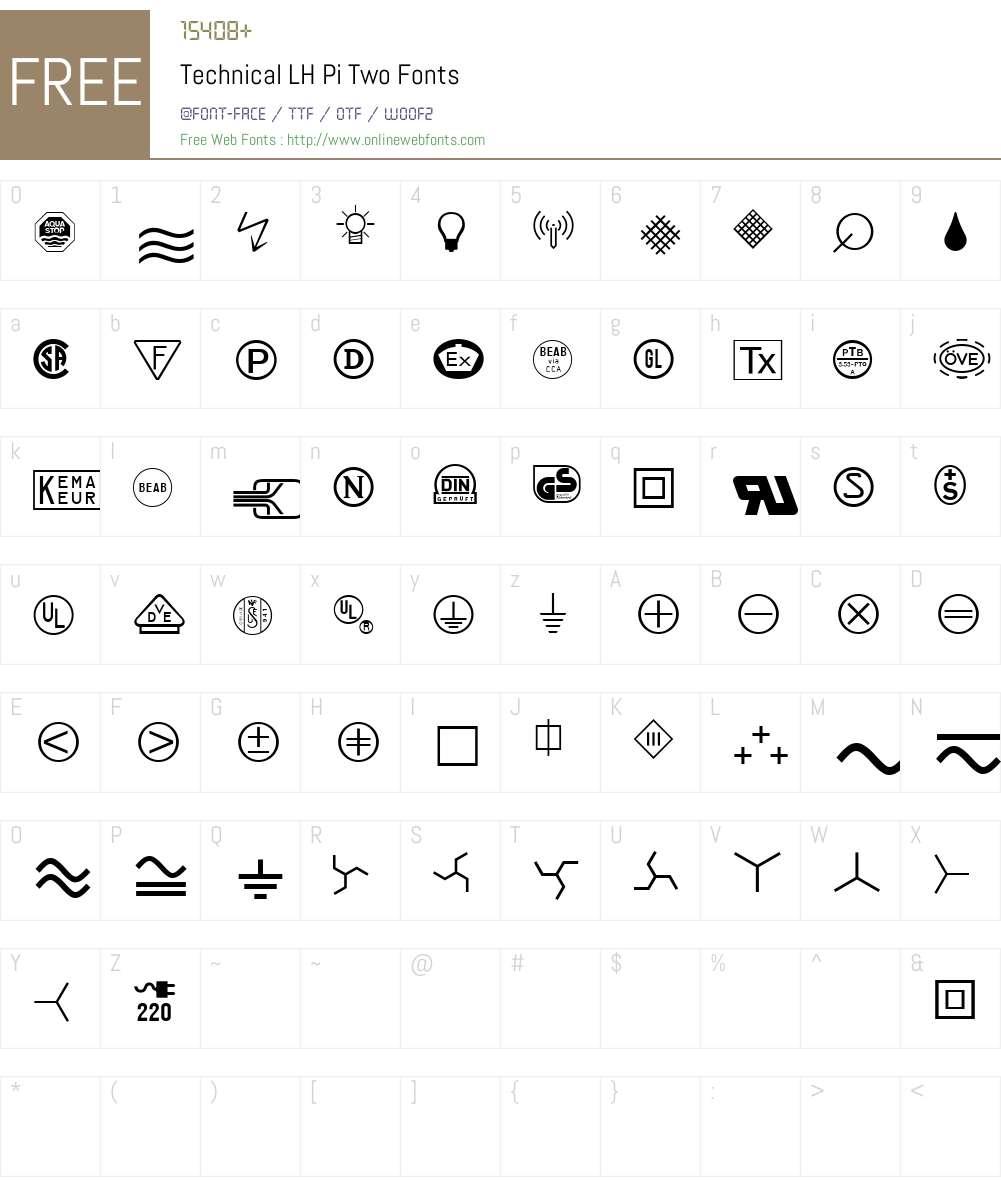 Linotype Technical PiTwo Font Screenshots