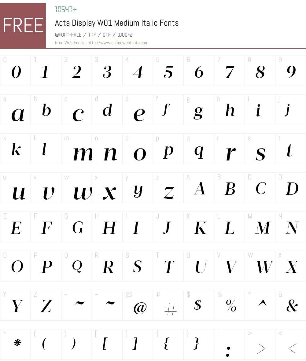 ActaDisplayW01-MediumItalic Font Screenshots