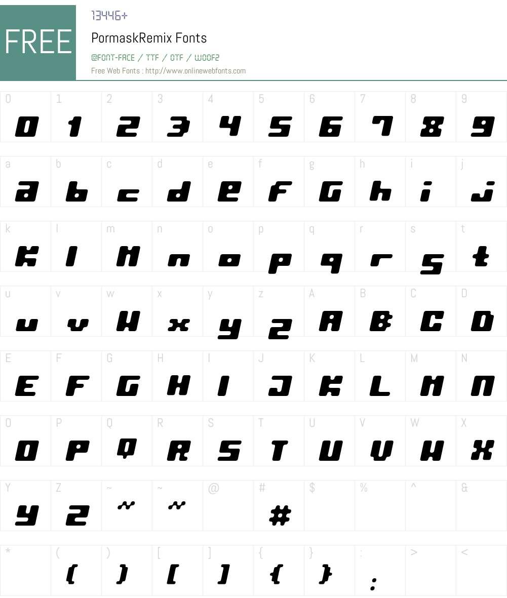 PormaskRemix Font Screenshots