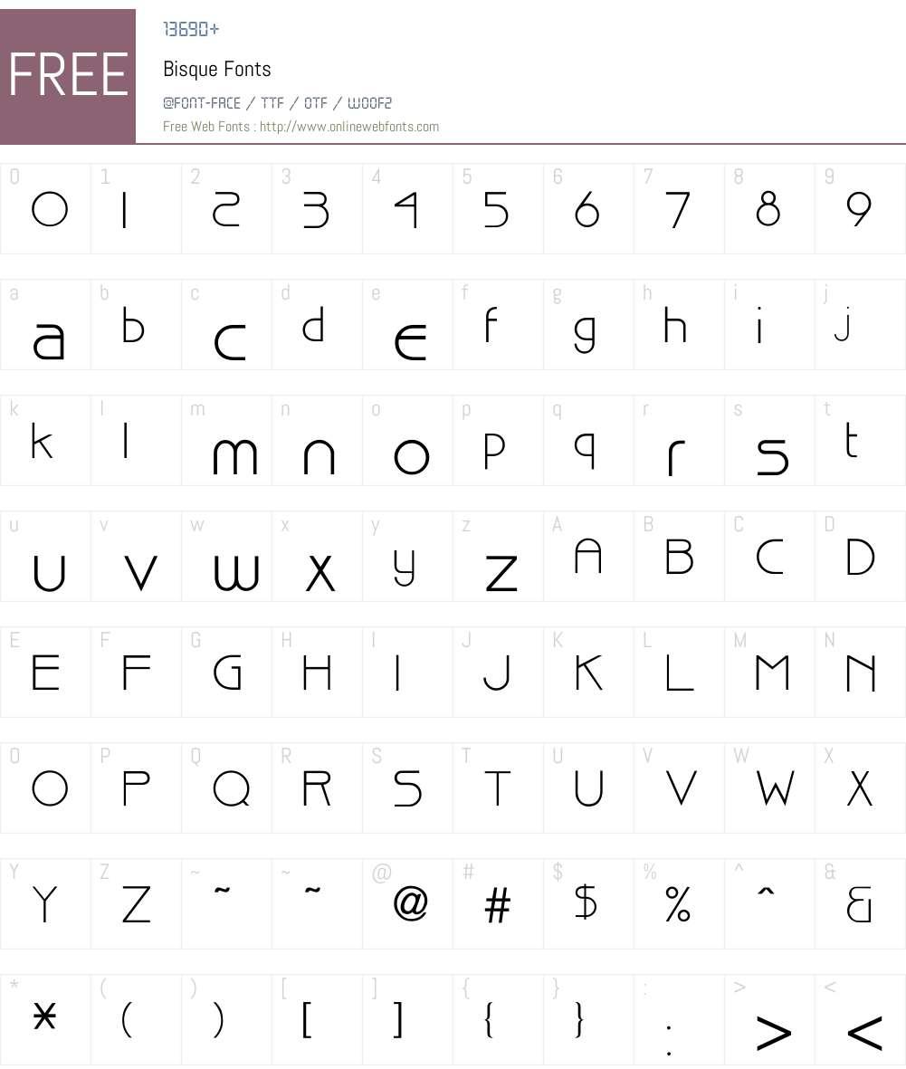 Bisque Font Screenshots
