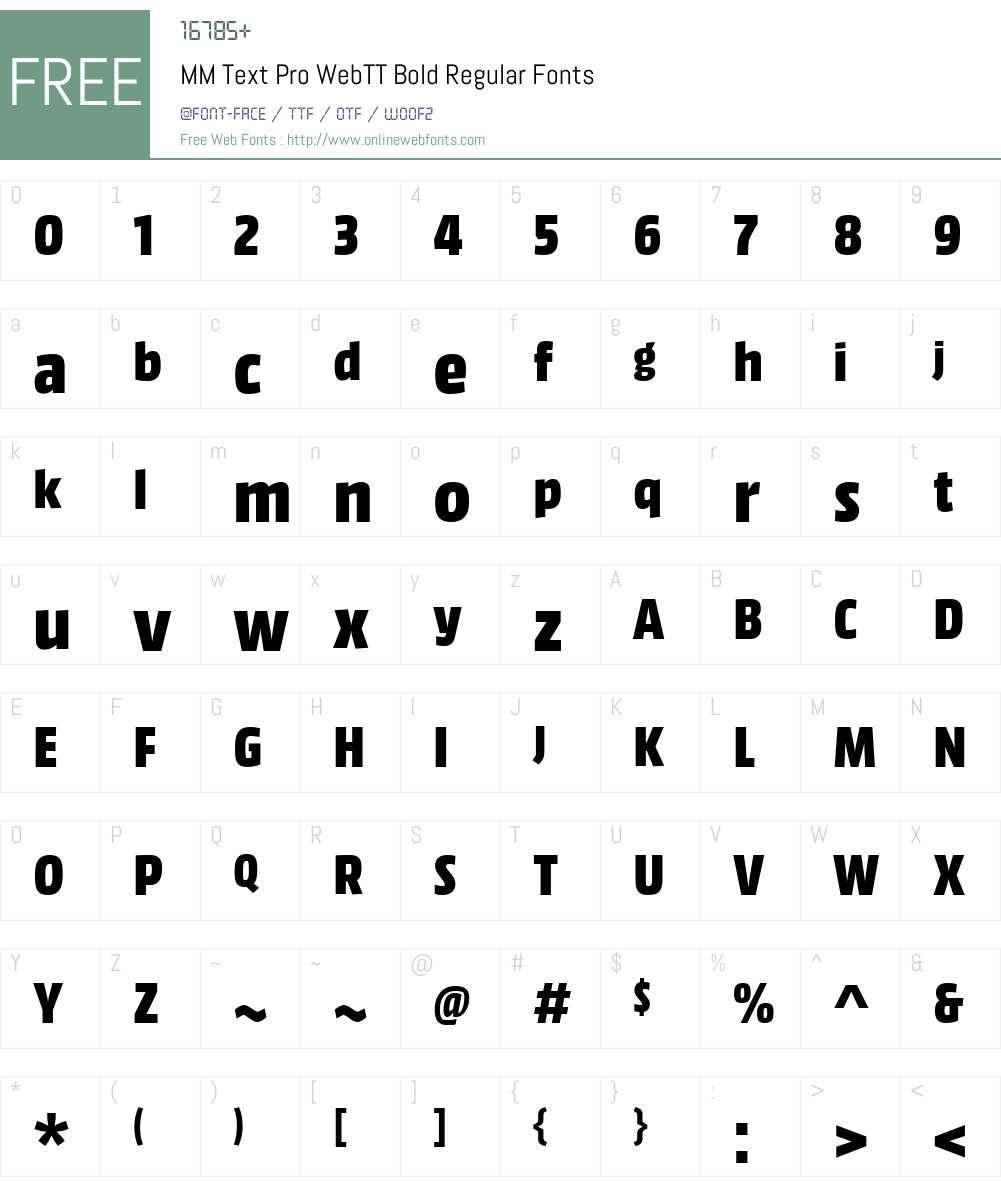 MM Text Pro WebTT Bold Font Screenshots