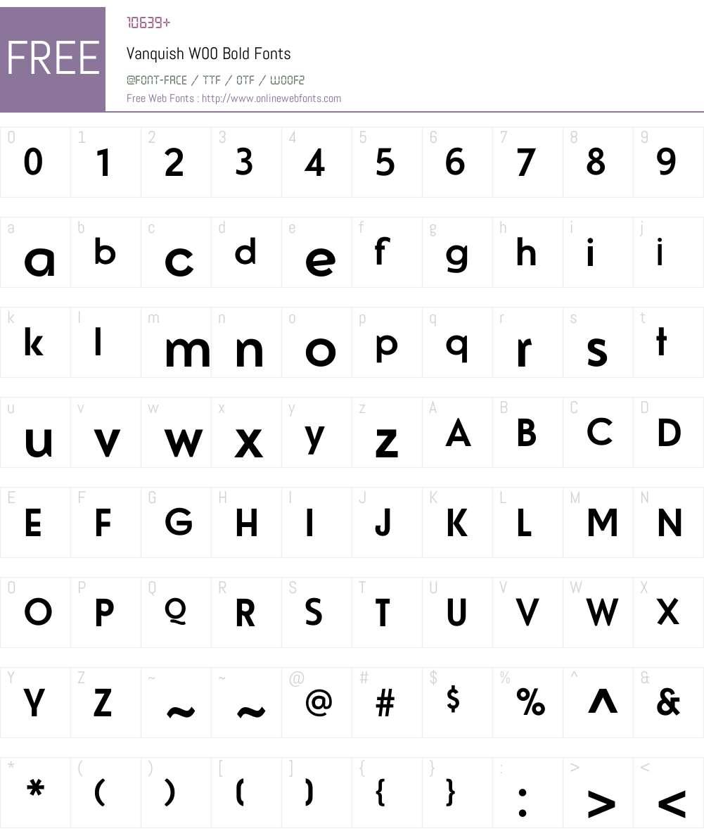 VanquishW00-Bold Font Screenshots