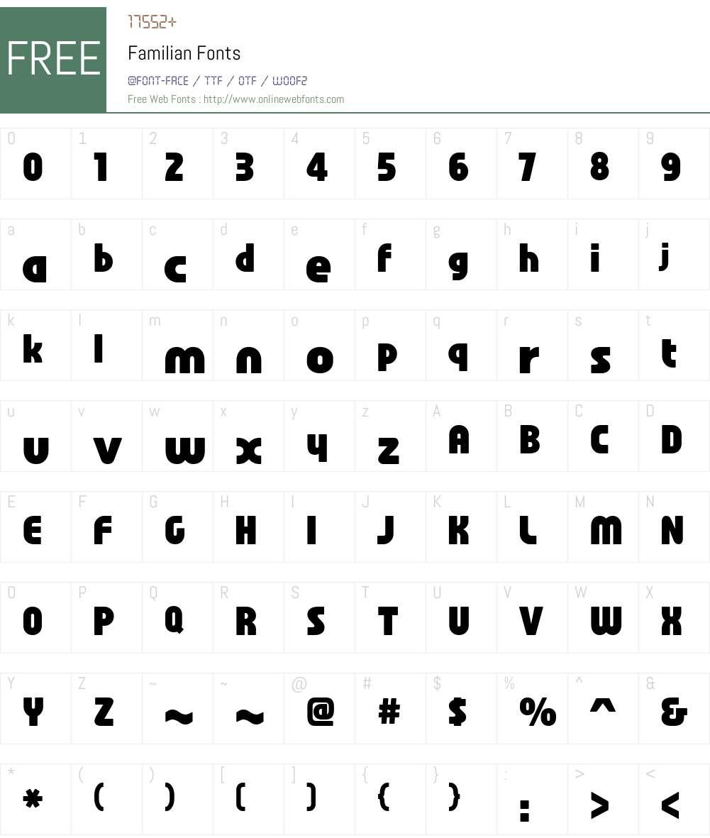 Familian Font Screenshots