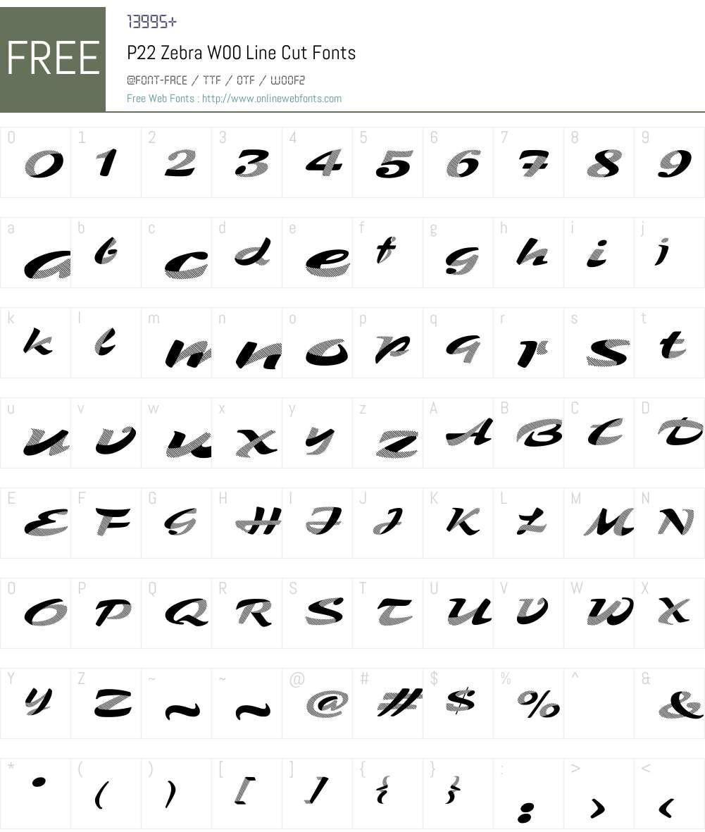 P22ZebraW00-LineCut Font Screenshots