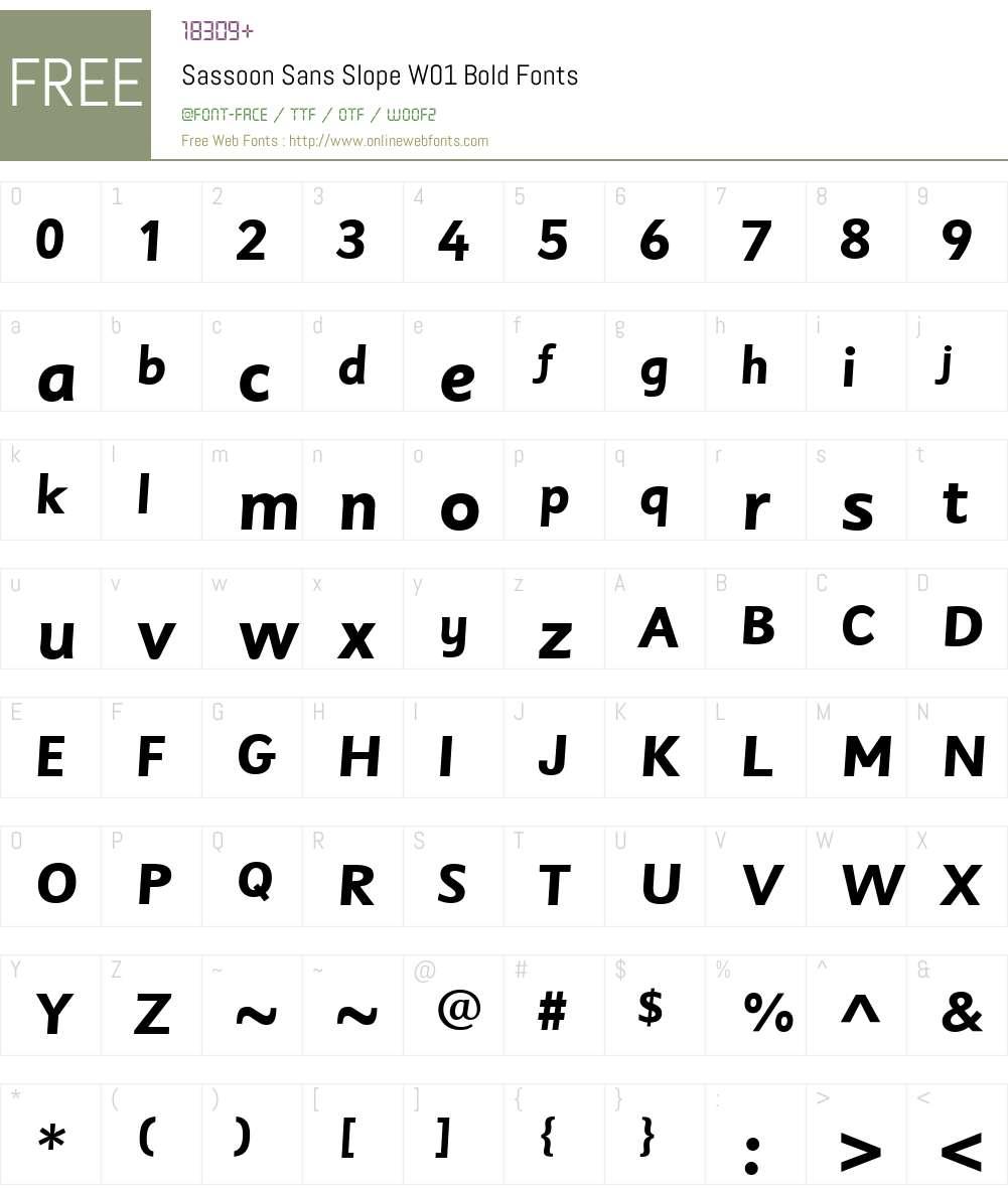 SassoonSansSlopeW01-Bold Font Screenshots