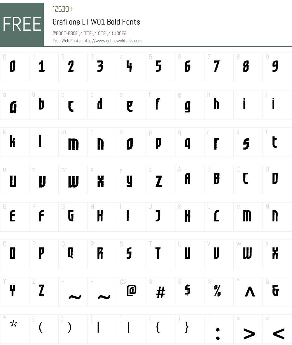 GrafiloneLTW01-Bold Font Screenshots