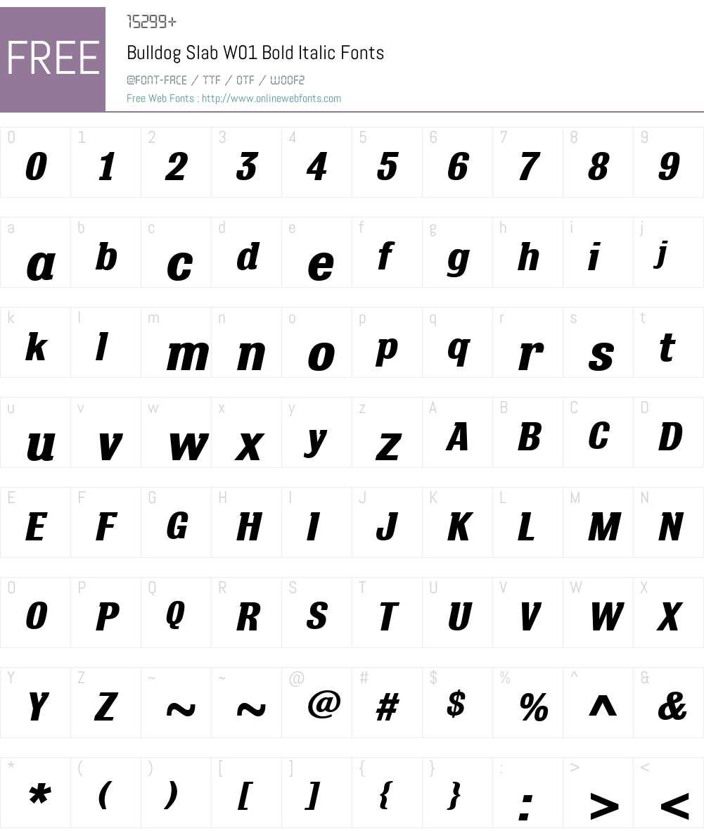 BulldogSlabW01-BoldItalic Font Screenshots
