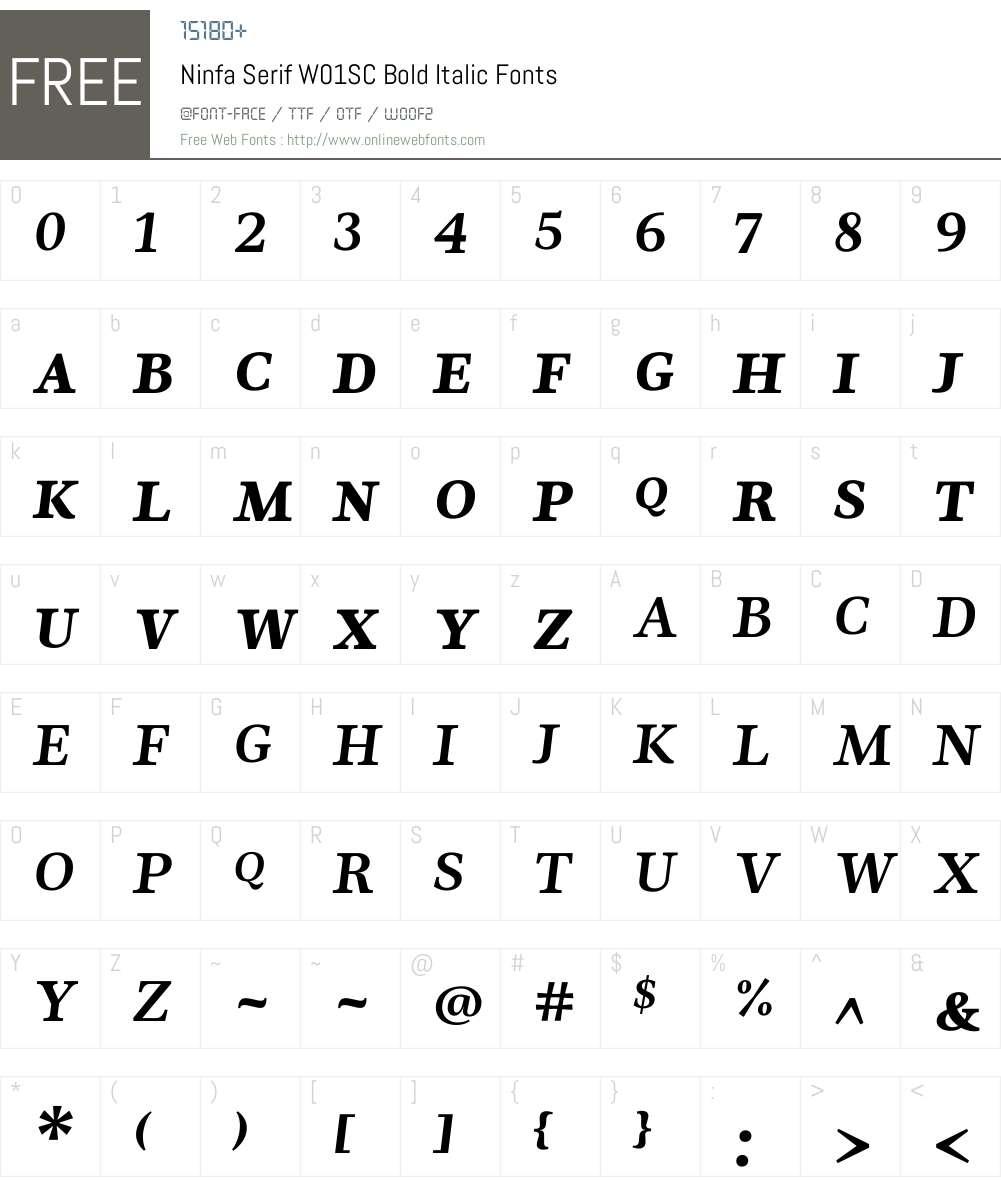 NinfaSerifW01SC-BoldItalic Font Screenshots