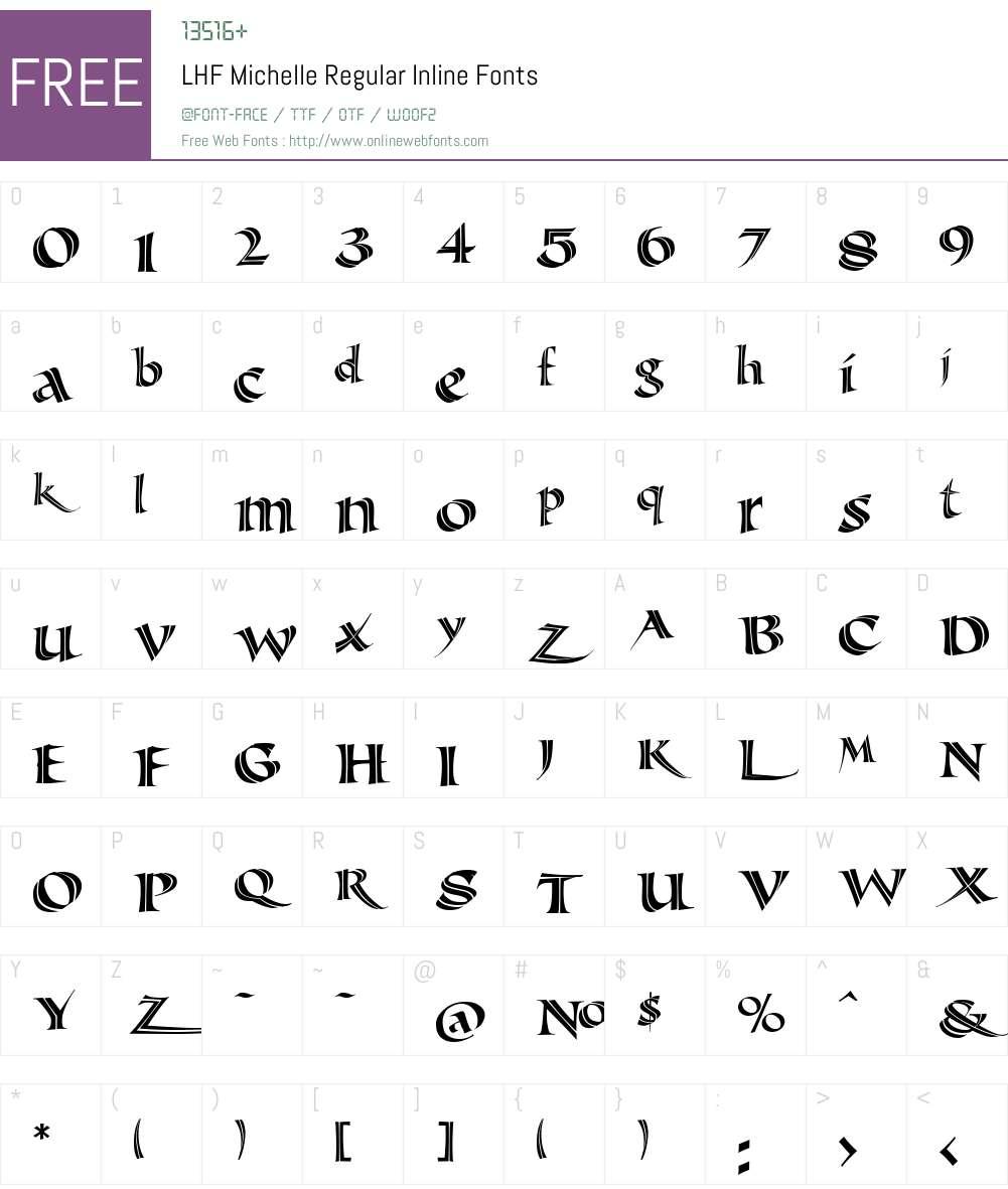 LHF Michelle Regular Inline Font Screenshots