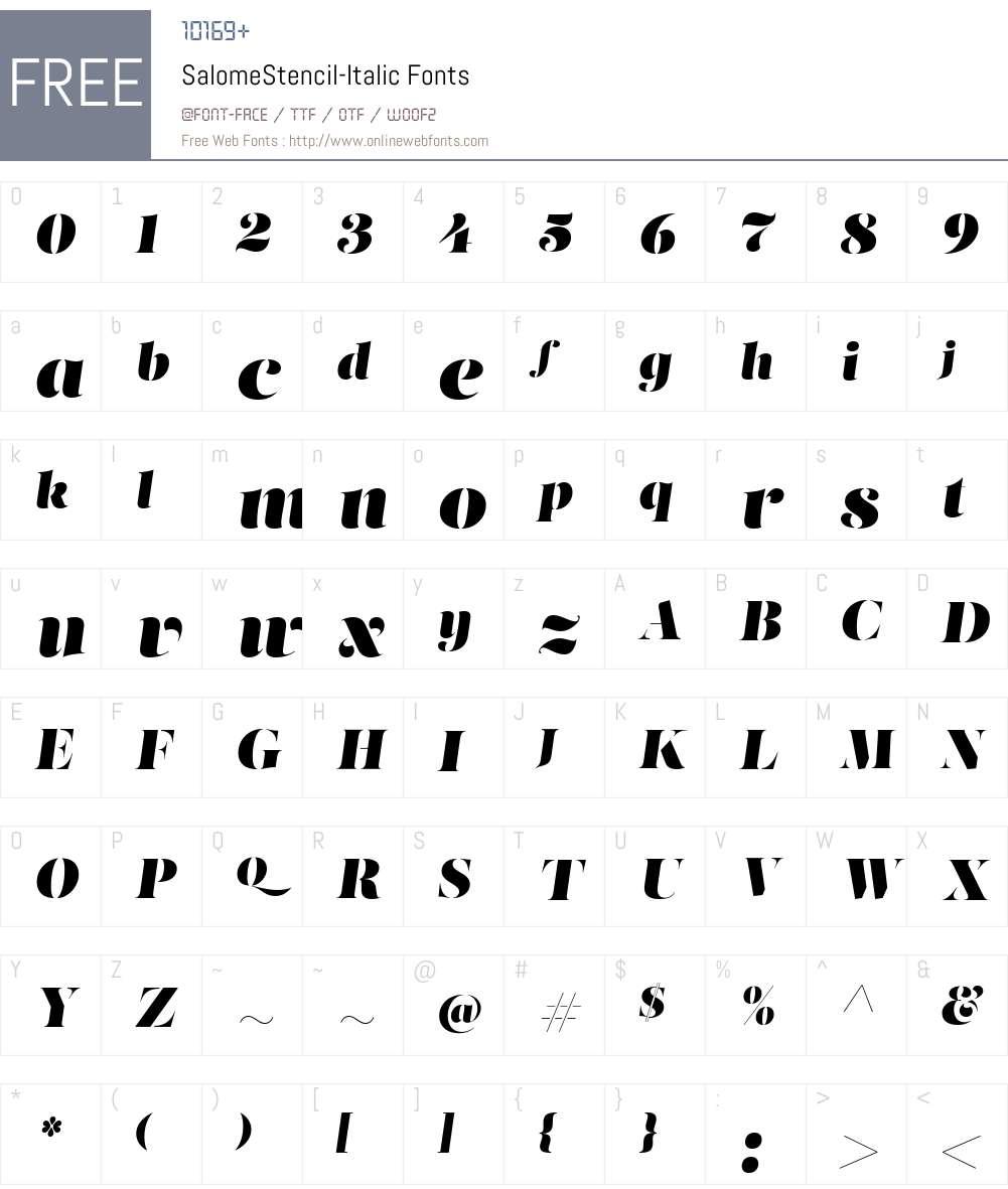 Salome Stencil Font Screenshots