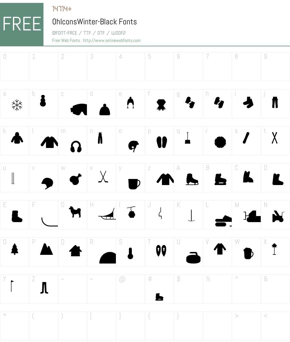 OhIconsWinter-Black Font Screenshots