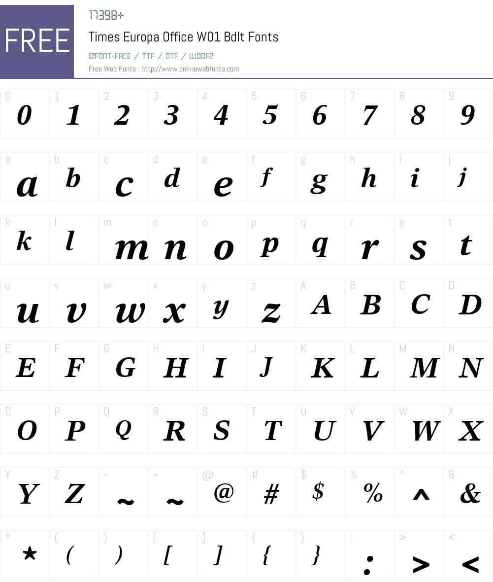 TimesEuropaOfficeW01-BdIt Font Screenshots