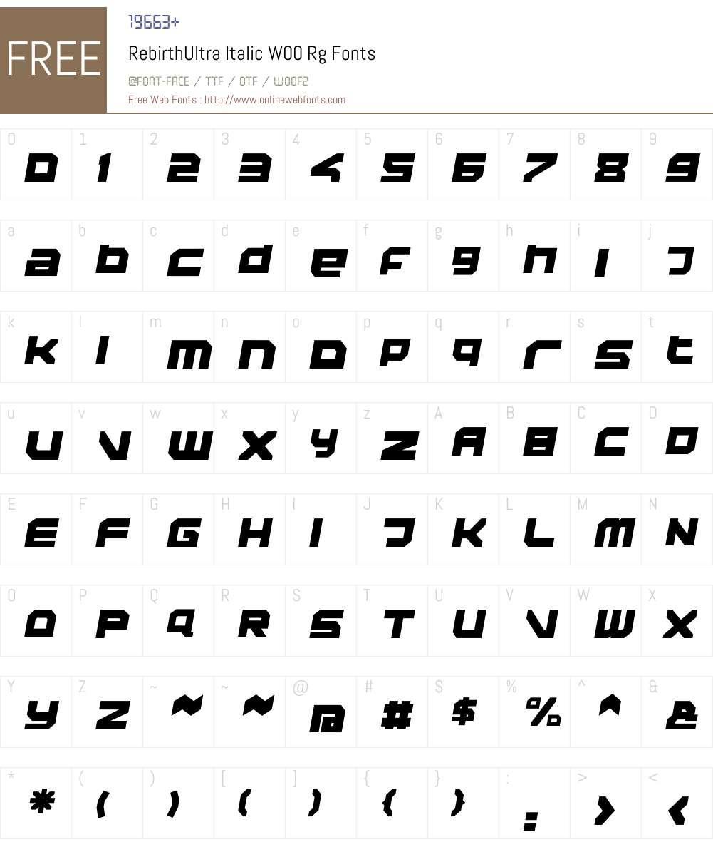 RebirthUltra Italic Font Screenshots