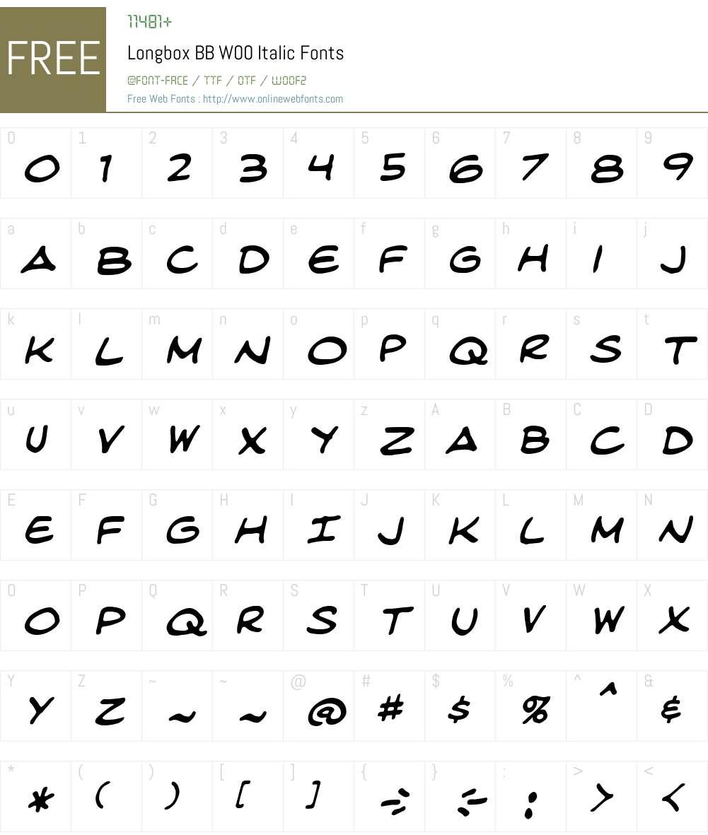 LongboxBBW00-Italic Font Screenshots