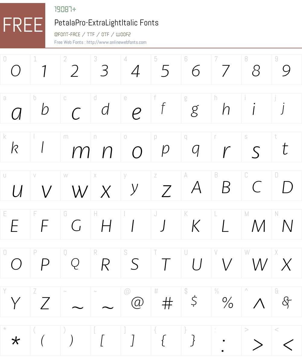 Petala Pro ExtraLight Italic Font Screenshots