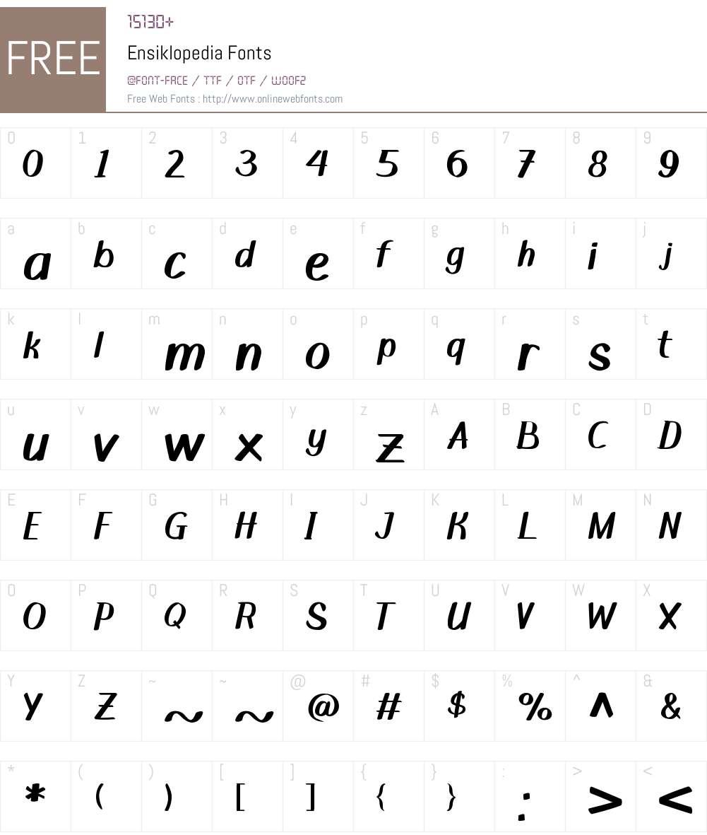 Ensiklopedia Font Screenshots