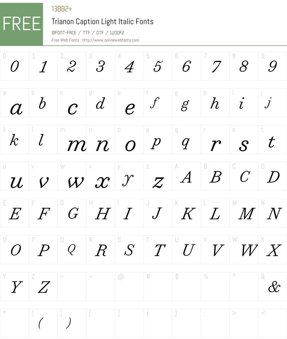 Trianon Caption Light Font Screenshots