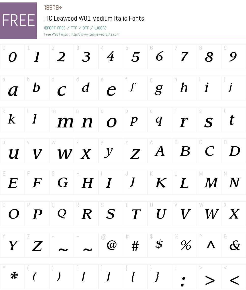 ITCLeawoodW01-MediumItalic Font Screenshots