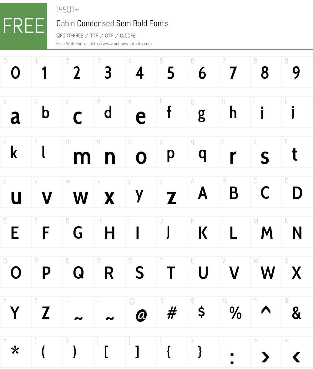 Cabin Condensed Font Screenshots